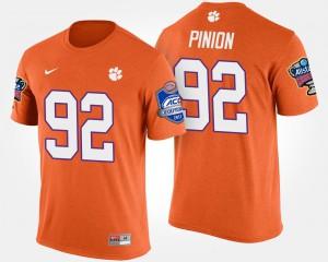 Clemson National Championship #92 Men Bradley Pinion T-Shirt Orange NCAA Bowl Game Atlantic Coast Conference Sugar Bowl 559273-822