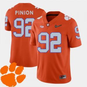 Clemson University #92 Men's Bradley Pinion Jersey Orange Player College Football 2018 ACC 203463-395