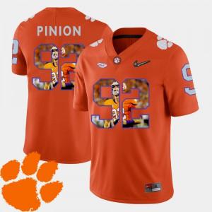 Clemson University #92 Men's Bradley Pinion Jersey Orange Stitched Football Pictorial Fashion 156093-474