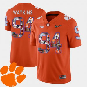 Clemson National Championship #94 For Men's Carlos Watkins Jersey Orange Stitched Football Pictorial Fashion 666380-677