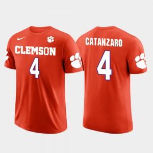 Clemson University #4 Mens Chandler Catanzaro T-Shirt Orange Embroidery Future Stars Carolina Panthers Football 150391-630