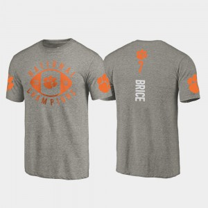 Clemson National Championship #7 Men's Chase Brice T-Shirt Gray College Football Playoff 2018 National Champions Official 892102-774