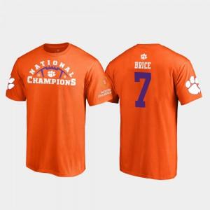 Clemson Tigers #7 Men's Chase Brice T-Shirt Orange University Pylon College Football Playoff 2018 National Champions 121342-915