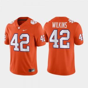 Clemson #42 Men's Christian Wilkins Jersey Orange Football Game College 989355-816