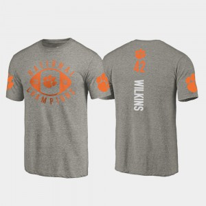 Clemson National Championship #42 Mens Christian Wilkins T-Shirt Gray College Football Playoff 2018 National Champions Official 371962-932