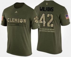 Clemson University #42 Mens Christian Wilkins T-Shirt Camo Stitch Short Sleeve With Message Military 489713-882