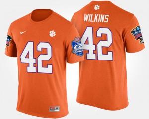 Clemson University #42 Men Christian Wilkins T-Shirt Orange Stitched Bowl Game Atlantic Coast Conference Sugar Bowl 769603-360