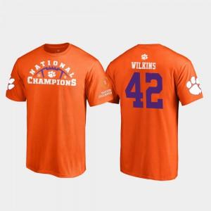 Clemson #42 Mens Christian Wilkins T-Shirt Orange Player 2018 National Champions Pylon College Football Playoff 926983-180