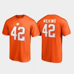 Clemson University #42 Men's Christian Wilkins T-Shirt Orange Stitch College Legends Name & Number 599190-407