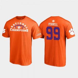 Clemson #99 Men's Clelin Ferrell T-Shirt Orange NCAA 2018 National Champions Pylon College Football Playoff 387397-683