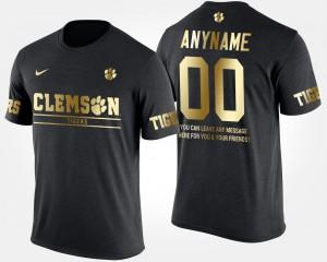 Clemson University #00 For Men Custom T-Shirt Black Short Sleeve With Message Gold Limited NCAA 384592-301
