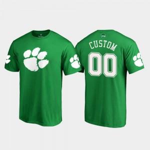 Clemson #00 Men Custom T-Shirt Kelly Green NCAA St. Patrick's Day White Logo 719627-614