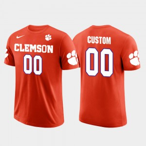 Clemson Tigers #00 Men's Custom T-Shirt Orange Stitch Cotton Football Future Stars 969605-371