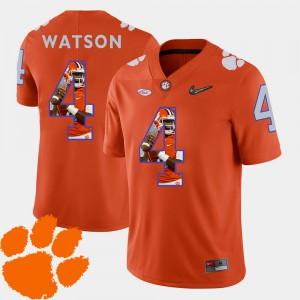 CFP Champs #4 Men's DeShaun Watson Jersey Orange Football Pictorial Fashion Stitch 929472-797
