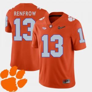 Clemson Tigers #13 For Men's Hunter Renfrow Jersey Orange 2018 ACC College Football University 428182-937