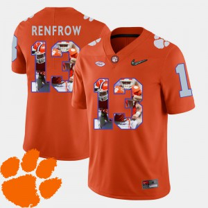 Clemson Tigers #13 For Men's Hunter Renfrow Jersey Orange Embroidery Pictorial Fashion Football 199560-359