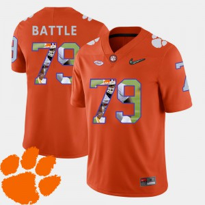 Clemson #79 Mens Isaiah Battle Jersey Orange Football Pictorial Fashion Embroidery 899955-385