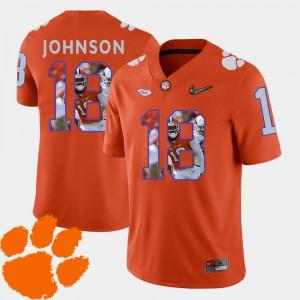 Clemson National Championship #18 Men Jadar Johnson Jersey Orange Football Pictorial Fashion Alumni 721088-300