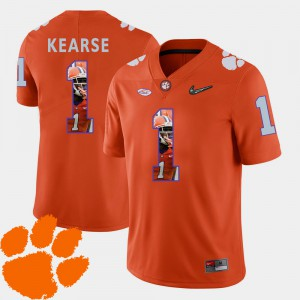 Clemson #1 Men's Jayron Kearse Jersey Orange Football Pictorial Fashion NCAA 457296-796