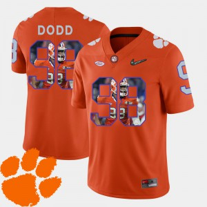 Clemson National Championship #98 Mens Kevin Dodd Jersey Orange Football Pictorial Fashion Stitched 359236-391