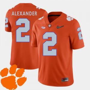 Clemson Tigers #2 Men's Mackensie Alexander Jersey Orange Stitched 2018 ACC College Football 546724-464