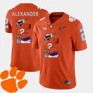 Clemson #2 Men's Mackensie Alexander Jersey Orange Football Pictorial Fashion High School 169692-948