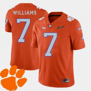 Clemson University #7 For Men's Mike Williams Jersey Orange College 2018 ACC College Football 712184-647