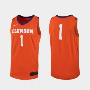 Clemson University #1 For Men's Jersey Orange College Basketball Replica Player 882619-426