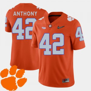 Clemson Tigers #42 Men's Stephone Anthony Jersey Orange Embroidery College Football 2018 ACC 831482-149
