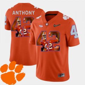 Clemson #42 Mens Stephone Anthony Jersey Orange Football Pictorial Fashion High School 927551-703