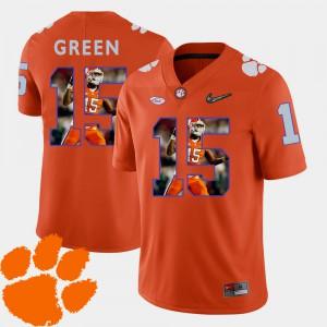 Clemson #15 For Men's T.J. Green Jersey Orange Football Pictorial Fashion College 520555-939