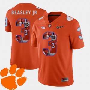Clemson University #3 For Men Vic Beasley Jr. Jersey Orange Player Football Pictorial Fashion 783720-349