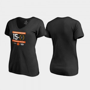 Clemson For Women's T-Shirt Black University 2018 National Champions Undefeated V-Neck College Football Playoff 443226-289
