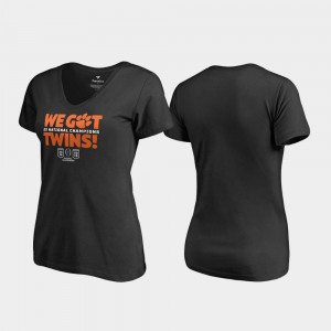 CFP Champs For Women T-Shirt Black Stitched 2018 National Champions We Got Twins V-Neck 791472-414