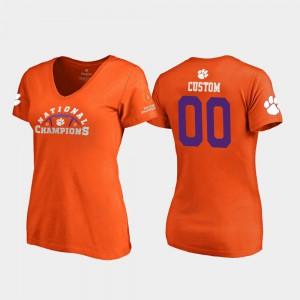 Clemson Tigers #00 Women Custom T-Shirt Orange Stitched Pylon V-Neck 2018 National Champions 175943-598