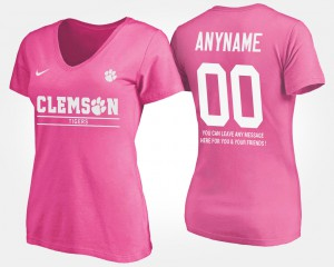 Clemson National Championship #00 Women's Customized T-Shirts Pink With Message Stitch 789914-655