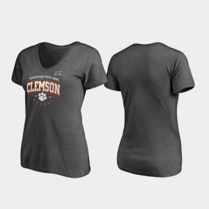 Clemson Tigers For Women T-Shirt Heather Gray High School 2019 Fiesta Bowl Bound Tackle V-Neck 546031-737