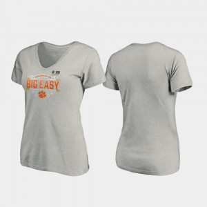 Clemson University Ladies T-Shirt Heather Gray NCAA 2020 National Championship Bound Post V-Neck 248938-760