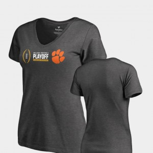 CFP Champs For Women's T-Shirt Heather Gray College 2018 College Football Playoff Bound Cadence V-Neck 655297-652