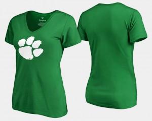 Clemson Tigers Women's T-Shirt Kelly Green College White Logo St. Patrick's Day 732186-169