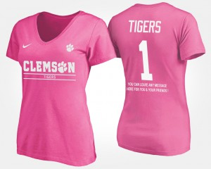 Clemson National Championship #1 Womens T-Shirt Pink No.1 Short Sleeve With Message Alumni 382850-246