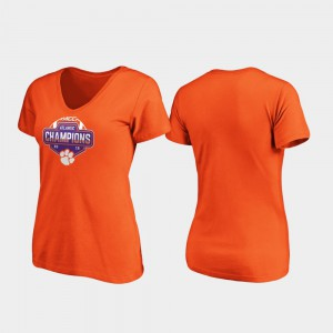 Clemson For Women T-Shirt Orange ACC Atlantic V-Neck 2019 Football Division Champions Player 246674-855