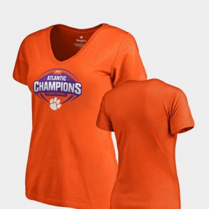 CFP Champs For Women T-Shirt Orange Embroidery V-Neck College Football 2018 ACC Atlantic Division Champions 585803-140