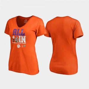Clemson Tigers Women's T-Shirt Orange Stitch Endaround V-Neck College Football Playoff 2018 Cotton Bowl Champions 849484-483