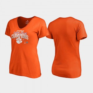 Clemson Tigers Women T-Shirt Orange Embroidery 2018 Cotton Bowl Champions Flea Flicker College Football Playoff 663356-519