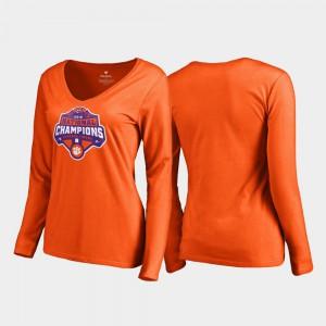 Clemson National Championship Ladies T-Shirt Orange Player Champions Gridiron Long Sleeve College Football Playoff 2018 National Champions 981128-215