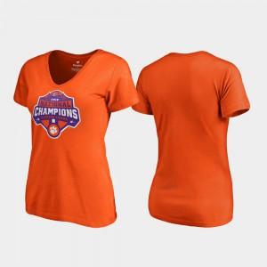 Clemson University Womens T-Shirt Orange NCAA Gridiron V-Neck College Football Playoff 2018 National Champions 391757-816