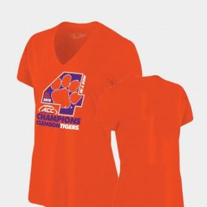 Clemson National Championship Women T-Shirt Orange Locker Room V-Neck Original Retro Brand 2018 ACC Football Champions Embroidery 962413-927