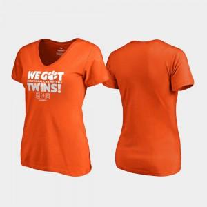Clemson University Women's T-Shirt Orange Player We Got Twins V-Neck 2018 National Champions 324175-721
