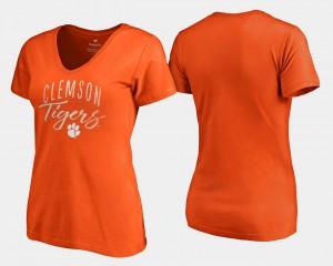 Clemson Womens T-Shirt Orange College Graceful V-Neck 699918-207
